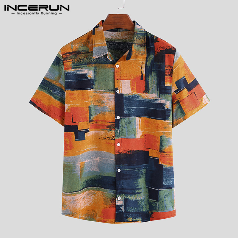INCERUN Summer Men Hawaiian Shirt Vacation Printed Short Sleeve Lapel High Quality Button Up Cotton Shirts Men Chic Blouse 2020