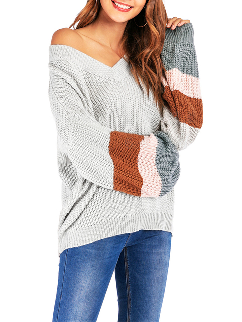 2020 Spring and Winter Sweater New Style Popular Fashion V-neck Knit Shirt Large Big Long Sleeves Sweater Woollen Tops Sweaters 4