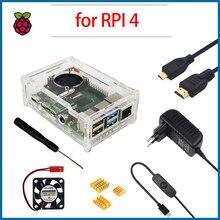 С роботом Поленики Pi модель B 4 Аксессуары чехол акрил + вентилятор радиатора выключатель питания адаптер микро-HDMI для RPI165