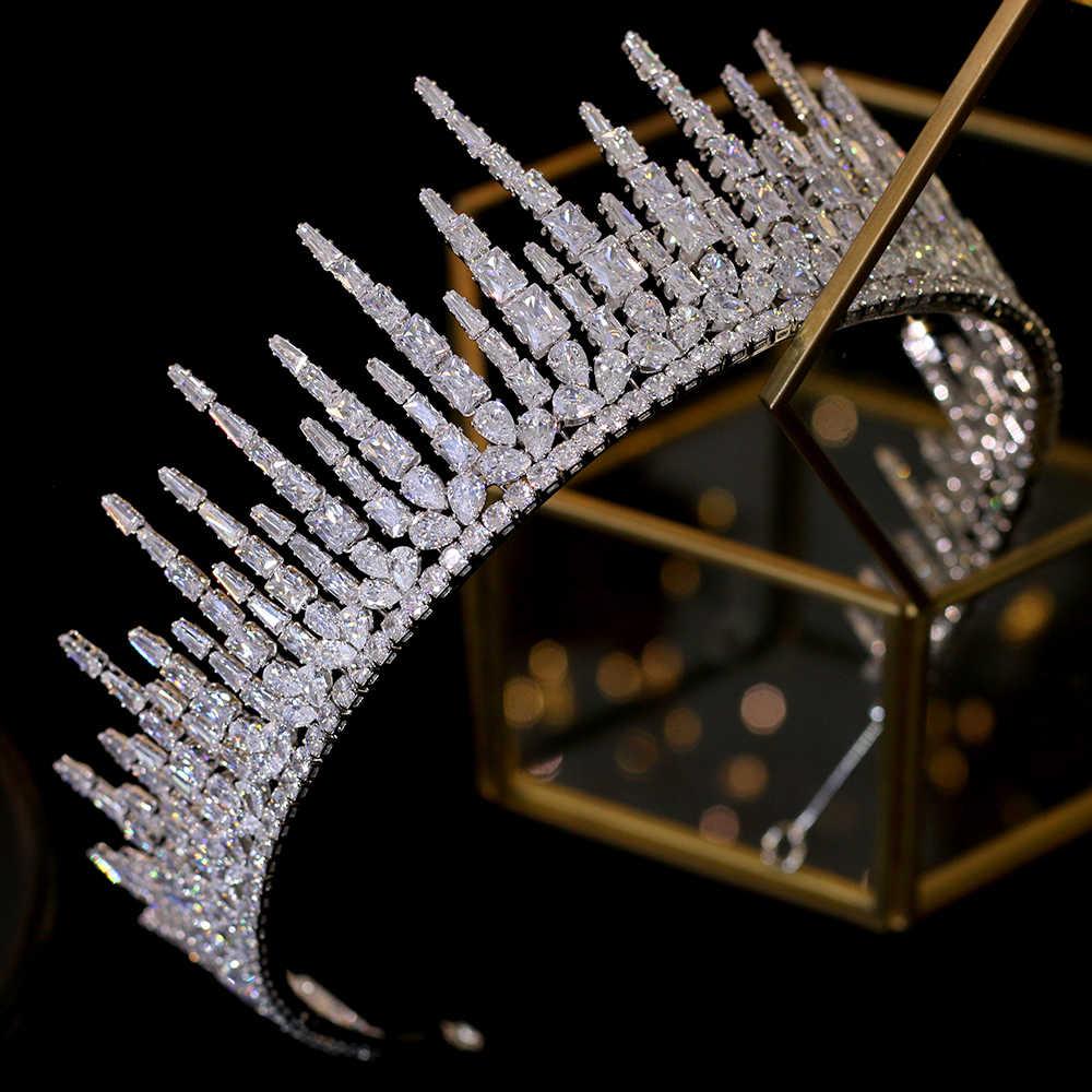 Tiara nuziale, Corona, Tiara, Corona Nuziale, Nuovo allungato corona, 3A zirconia di cristallo corona couronne princesse enfant da sposa headban
