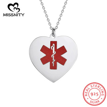 MissNity Sterling Silver Medical Alert ID Heart Pendant Necklace Gold Plated Free Engraving Custom Jewelry Women Men kingsman the secret service custom signet rings for men women 925 sterling silver gold color jewelry customize free engraving