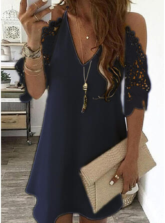 Women's Lace Splicing Dress V-neck Off Shoulder Sling Mini Dress Solid Color Casual  Hollow out Sleeve Dress 8