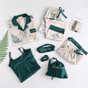 Image 1 - Winter New 7 Pieces Set Women Pajamas Printing Fashion Long Sleeve Pyjamas Set With Chest Pad Spaghetti Strap Sleepwear