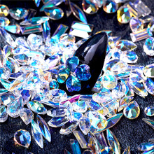 1 Bag Pointed Back Resin Rhinestone Clear AB Nail Art Decoration Mixed Gemstone Chips