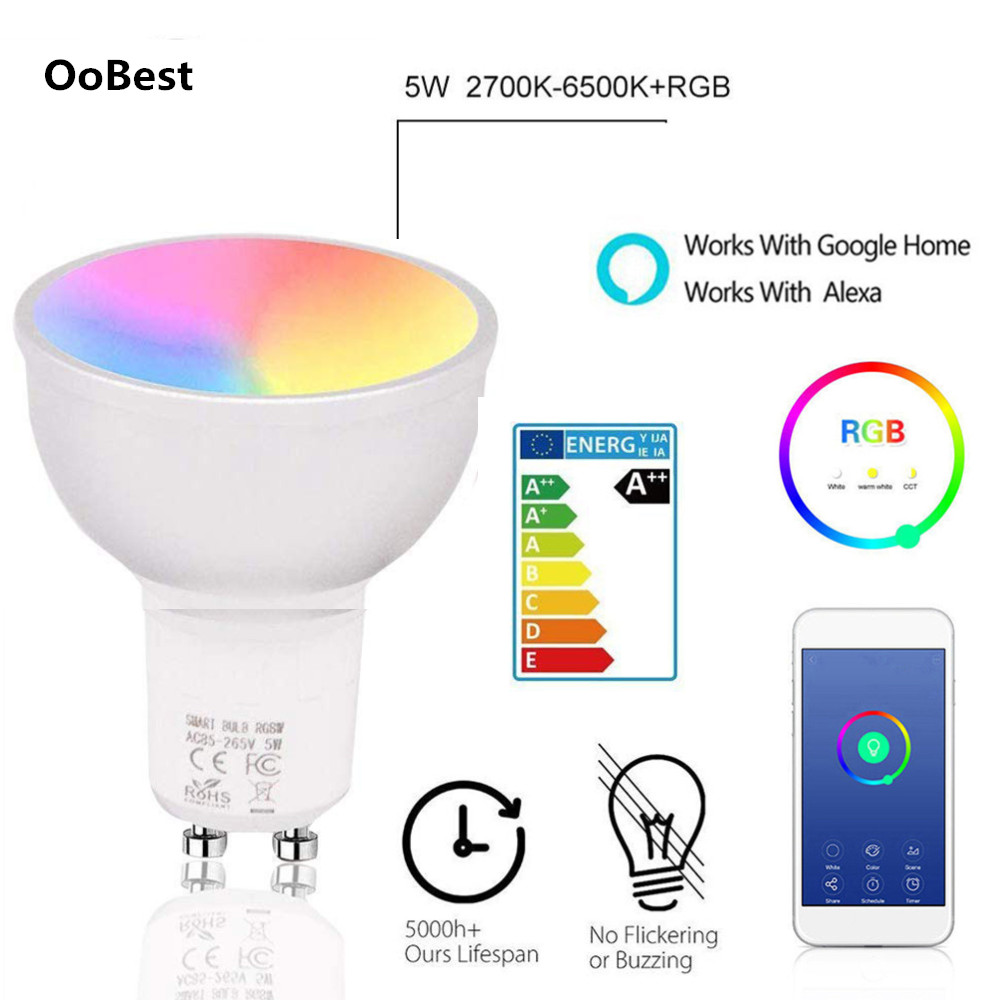 1Pc LED WiFi Smart Lamp GU10 Bulb Bombillas RGBW 5W Dimmable Compatible With Light Apps Alexa & Google Home Remote Control Bulbs