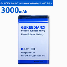 GUKEEDIANZI 3000mAh BP-3L wymiana baterii dla NOKIA Lumia 710 510 603 303 603 610 3030 Bateria litowa Bateria tanie tanio 2801 mAh-3500 mAh Kompatybilny Replacement Battery Batterie Bateria Li-ion Polymer Battery(Lithium Polymer Battery) For NOKIA Lumia 710 510 603 303 603 610 3030