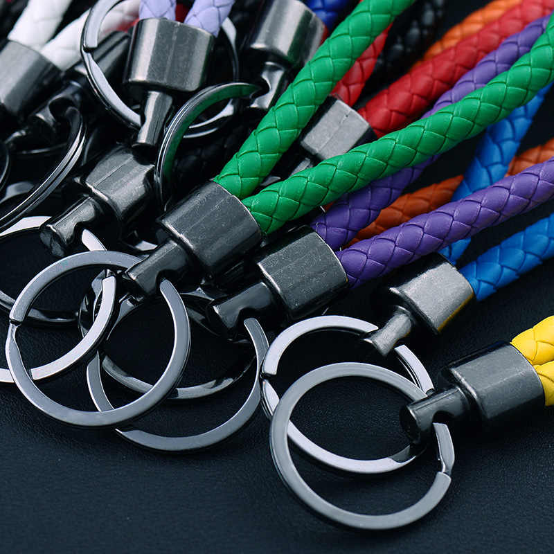 Leather Car Key Holder Key Rings Key Chain Woven Car Key Buckle Keychain Car Keyring Gift Creative For BMW Audi Benz