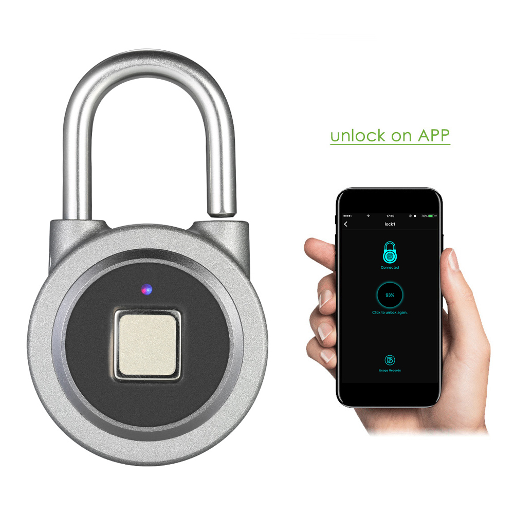 Fipilock Smart Keyless Fingerprint Lock Waterproof APP / Fingerprint Unlock Anti-Theft Security Padlock Door Luggage Case Lock