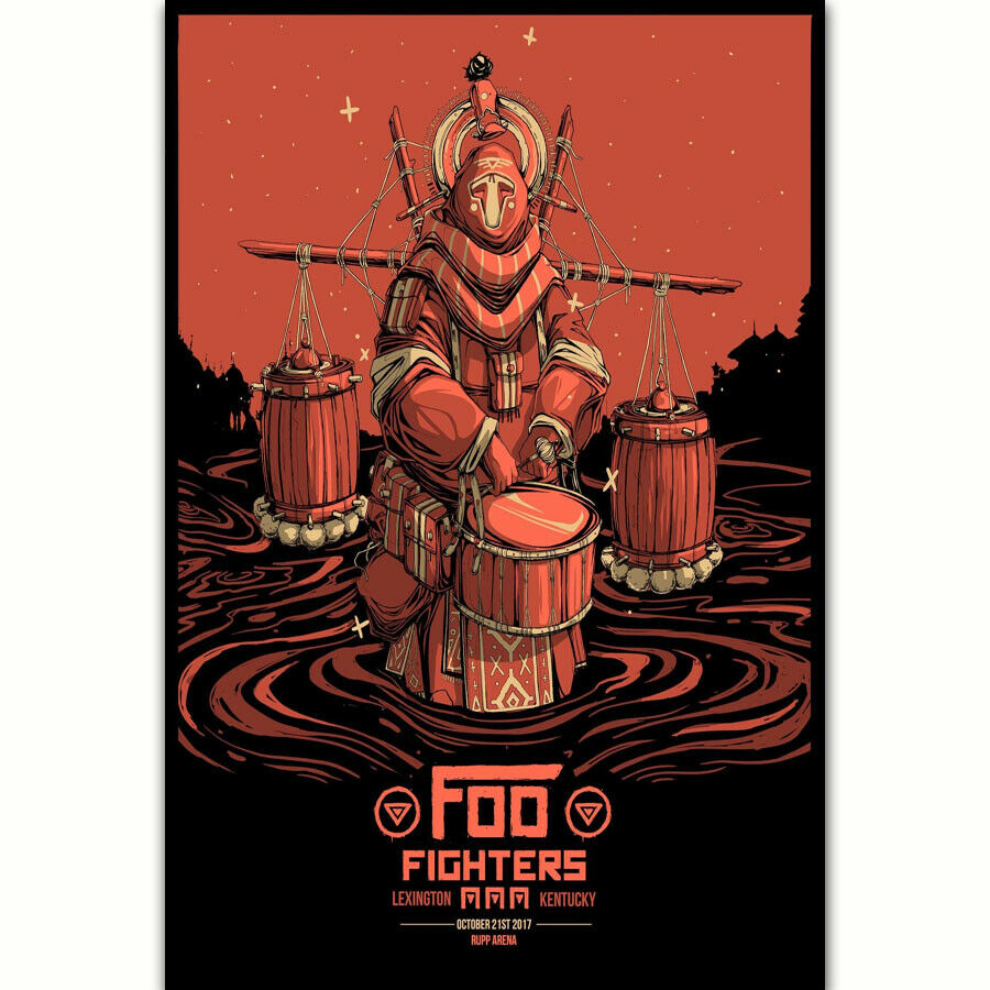 FOO FIGHTERS DAVE GROHL Tour Music Silk Fabric Wall Poster Art Decor Sticker Bright image