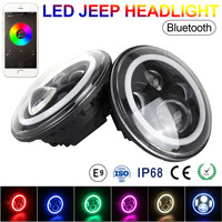 2pc 7 Inch 58W 3600LM Round LED Headlights Halo Ring support Phone Bluetooth App Controlled 2400LM for Jeep SUV Car Vehicle Auto
