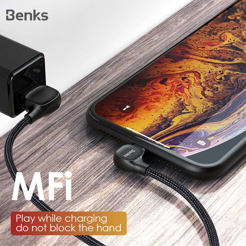 Benks M12 MFi 90 Gradi Cavo USB Per il iPhone X XS 11 MAX XR 8 7 6s Plus 5S SE 2.4A di Illuminazione Cavo di Ricarica Per ipad Carica Veloce
