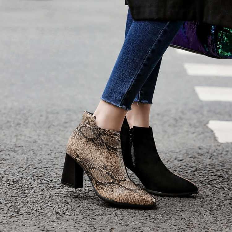 Big Size 9 10 11-17 Laarzen Vrouwen Schoenen Enkellaarsjes Voor Vrouwen Dames Laarzen Schoenen Vrouw Winter Luipaard print Side Rits