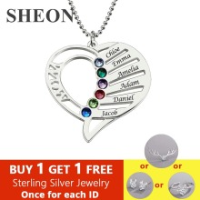 SHEON Personalized Family Love Pendant Necklace 925 Sterling Silver Birthstone Necklaces For Grandma Custom Jewelry