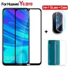 3-in-1 Tempered Glass Huawei Y6 2019 Y 6 Camera Protective Film y62019 Screen Protector huawei y6