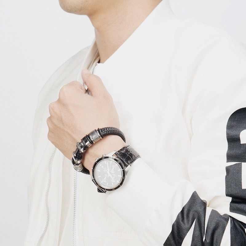 Модный панк кожаный плетеный крест браслет для мужчин Высокое качество магнитная пряжка ювелирные изделия подарок