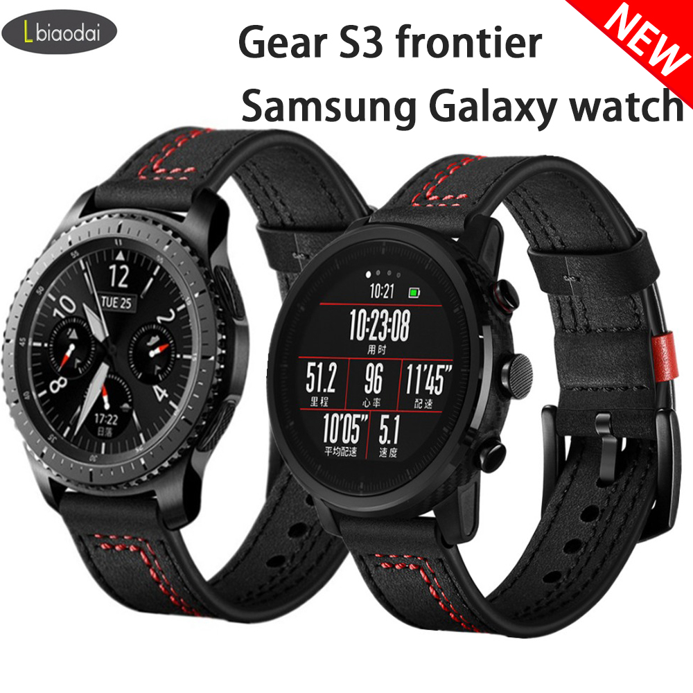 Leather Strap For Samsung Galaxy Watch HUAWEI Watch Gt2 46mm Gear S3 Frontier 22mm Watch Band Correa Amazfit Gtr 47 Accessories