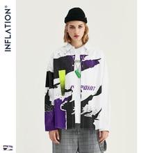 Мужская свободная рубашка INFLATION DESIGN, белая рубашка с графическим принтом, уличная одежда, свободный стиль, 92130 Вт