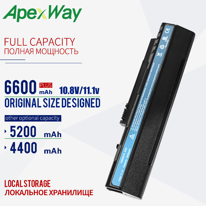 BLACK 11.1V Battery UM08A31 For Acer Aspire One A110 A150 D150 D210 D250 ZG5 UM08A32 UM08A51 UM08A52 UM08A71 UM08A72 UM08A73