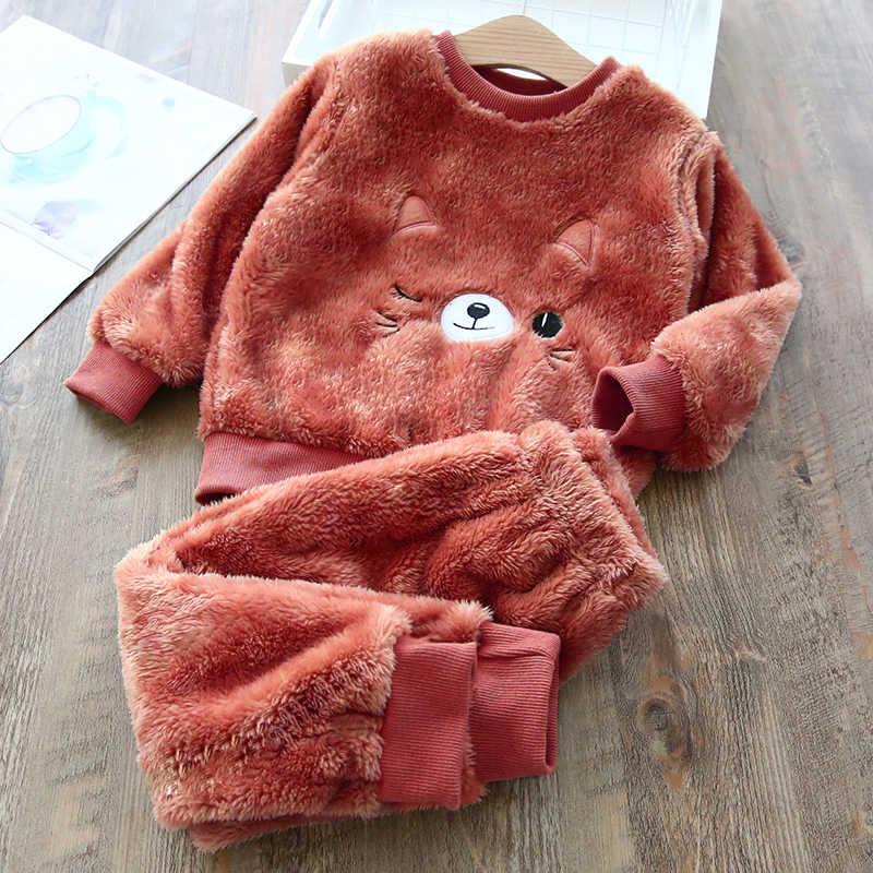 เด็กชุดนอน 2019 ฤดูหนาวใหม่เด็ก PLUS PLUS หนาเสื้อผ้าเด็กฤดูหนาว WARM Home