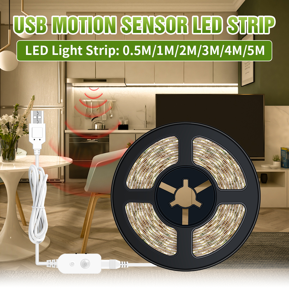 PIR Motion Sensor LED Strip Under Cabinet Light 50cm 1m 2m 3m 4m 5m SMD2835 TV Strip For Closet Kitchen Wardrobe Stairs Bedroom