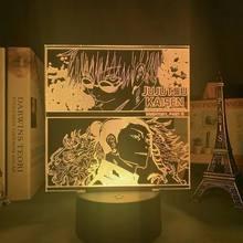 Lâmpada anime satoru gojo jujutsu kaisen led noite luz yuji itadori para o quarto deco presente de aniversário jujutsu kaisen lâmpada yuji itadori