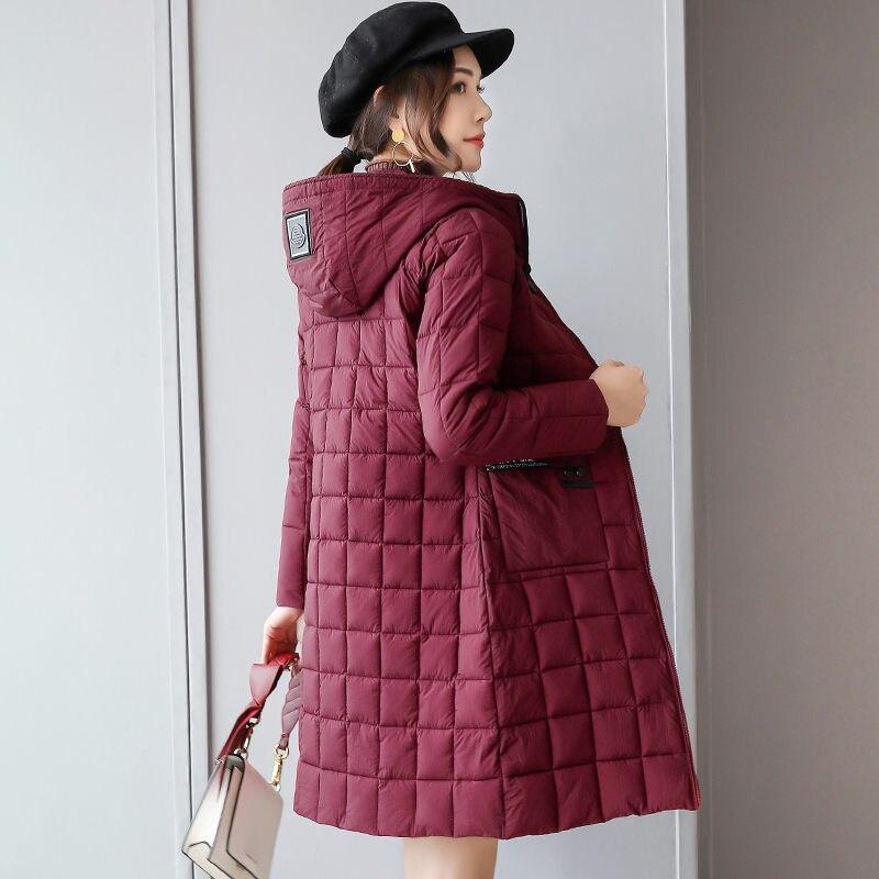 Doudoune légère femme longue Section coréenne Slim veste à capuche 2019 nouveau hiver doudoune coton grande taille M-4XL f1773
