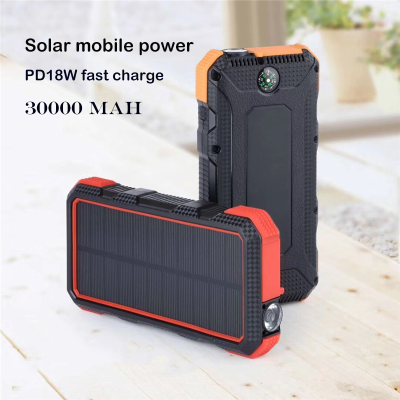 <font><b>Solar</b></font> <font><b>Power</b></font> <font><b>Bank</b></font> <font><b>waterproof</b></font> <font><b>30000mAh</b></font> <font><b>Power</b></font> <font><b>Bank</b></font> For iPhone Samsung Type C PD Quick Charge 3.0 USB Powerbank External Battery image