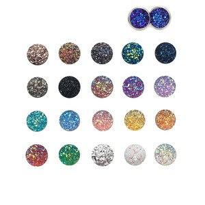 Taladro redondo de resina de 12mm lleno de estrellas de fondo plano de mineral de diamantes cóncavo y convexo accesorios de joyería diy 100 Uds