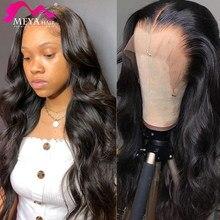 Meya onda do corpo frente do laço perucas de cabelo humano 13x4 frontal malaio peruca de renda transparente para preto mulher preplucked hd água cheia