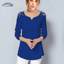 RONNYKISE Sexy V-neck Lace Tops Womens Fashion Off-shoulder Long-sleeved T-shirts Summer Autumn Laides Chiffon