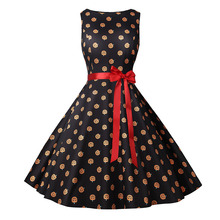 2019 Women Dress Halloween Vintage Sleeveless Printed Evening Party Dresses 2XL Costumes For Fashion