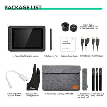 """Parblo Mast10 10.1\"""" 6 Keys Graphics Tablet Drawing Monitor with Battery-less Passive Pen+Mini DP to HDMI Adapter for Mac/Windows"""
