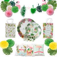 Fête d'anniversaire d'été hawaïenne vaisselle jetable flamant rose feuilles de palmier assiette en papier serviette de table fête d'événement de mariage Tropical