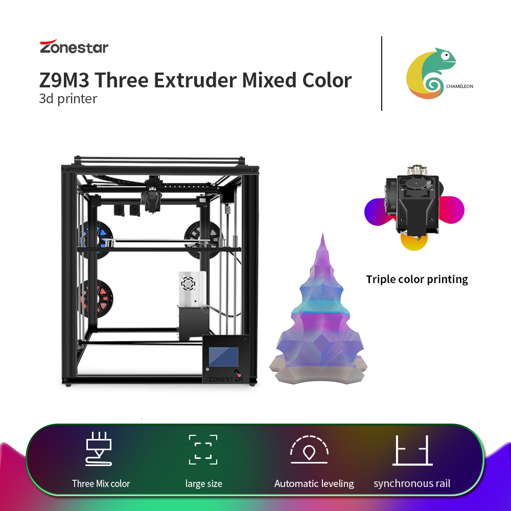 ZONESTAR Large Triple Extruder Auto Mix Color 3-IN-1-OUT Stable Closed Aluminum Frame Sync Dual Z Drive 3D Printer DIY Kit