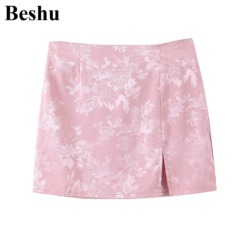 za 2020 fashion skirt women 3-colors jacquard satin print back zipper small split vintage skirt chinese style high waist mujer image