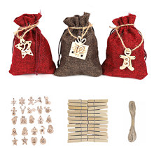 Advent Calendar Number-Labels Wooden Christmas-Countdown DIY Behogar with Rope Clip