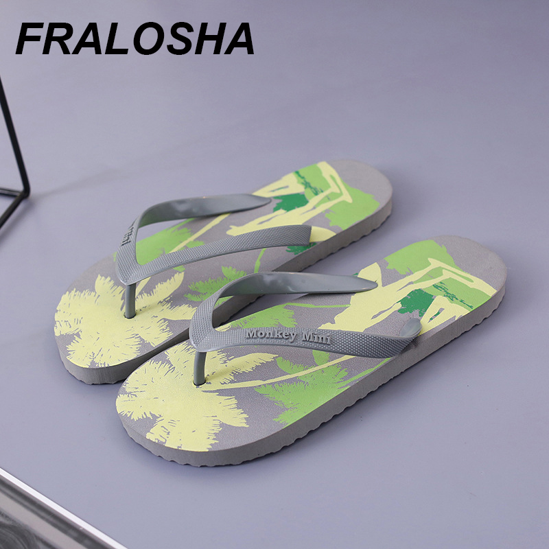Camouflage Coconut Beach Slippers Summer Cartoon Men's Flip Flops Home Non-slip High Quality  Indoor And Outdoor Leisure Sandals