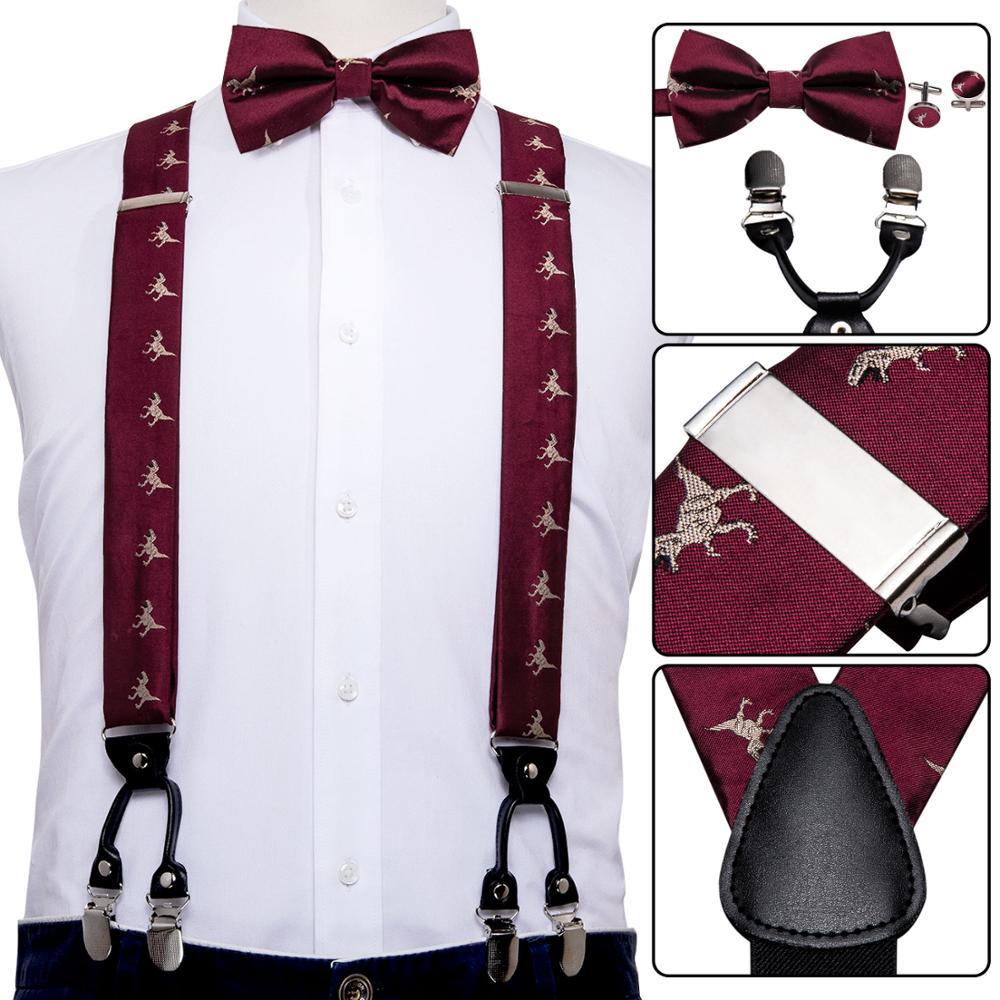 Men Suspender Set Red Silk Bowtie Dinosaur Silk Tie 6 Clips Waist Belt Braces Vintage Men Elastic Wedding Suspenders Barry.Wang