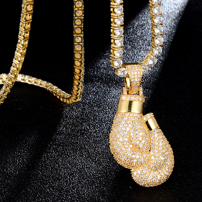 US7 Bling <font><b>Boxing</b></font> <font><b>Gloves</b></font> Pendant <font><b>Necklace</b></font> & Pendant Charm Free Rope Chain Gold Color Iced Cubic Zircon <font><b>Men's</b></font> Hip hop Jewelry image