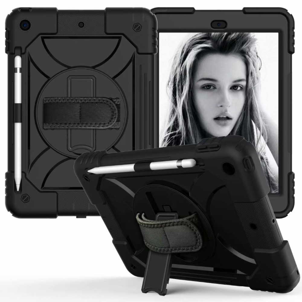Hand Holder For 7th iPad Case 360 For Stand Generation Rotating Strap iPad Cover Pencil