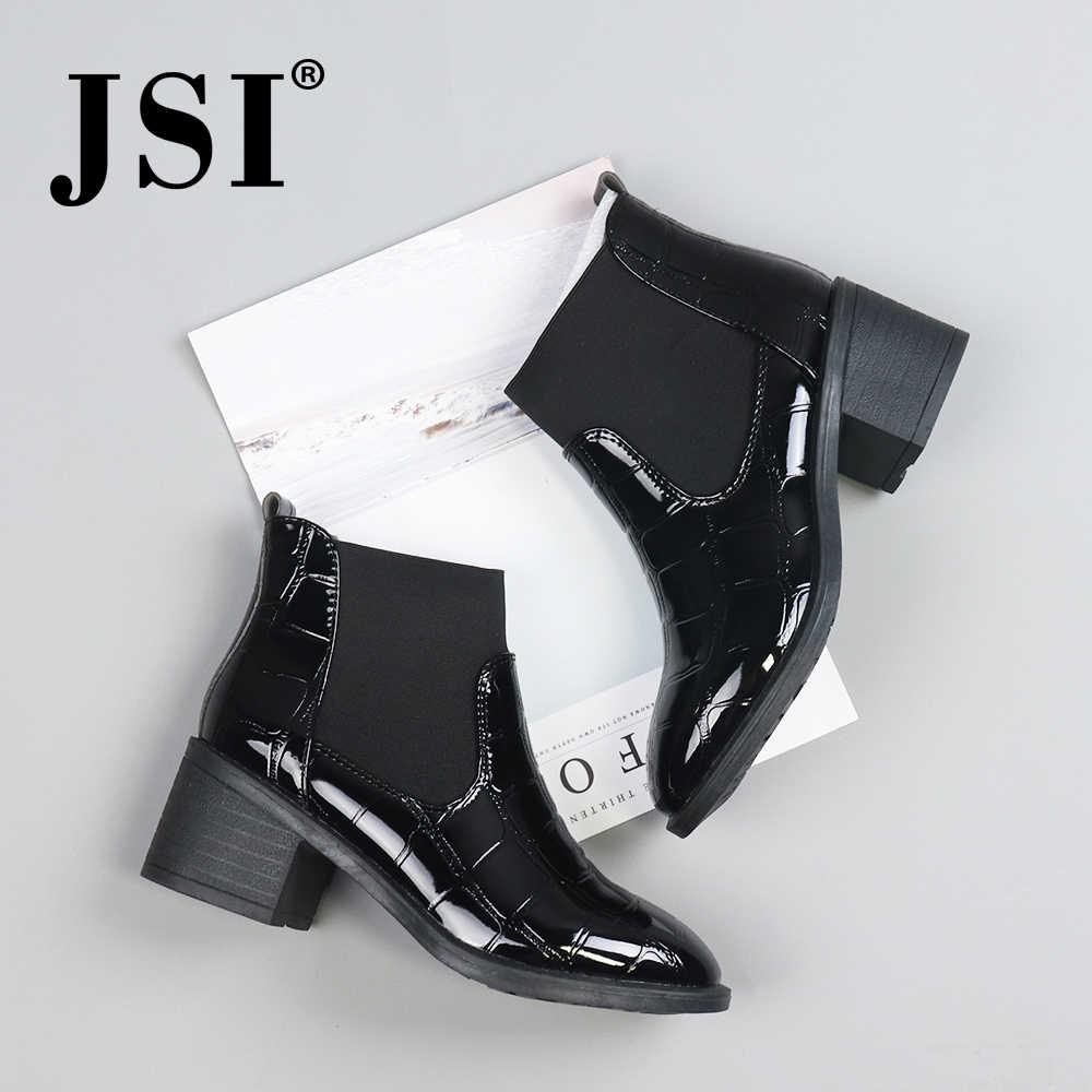 JSI kış ayak bileği kadın çizmeler elastik bant yuvarlak ayak kare topuk ayakkabı oyma Chelsea yüksek topuklu mikrofiber botlar kadın JD2