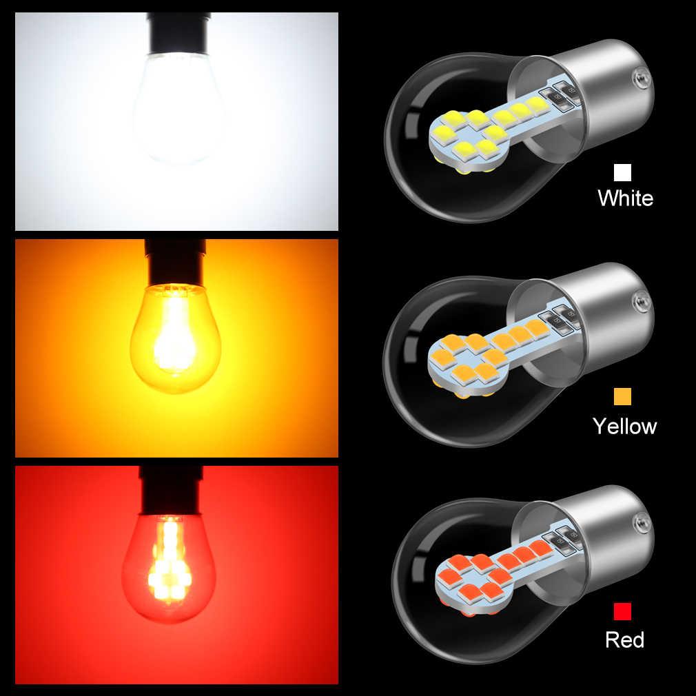 1156 BA15S P21W LED 1157 BAY15D P21/5 W Lampu LED R5W R10W 18SMD 800LM Mobil Lampu Kabut DRL sinyal Giliran Lampu 12V Putih Merah Kuning