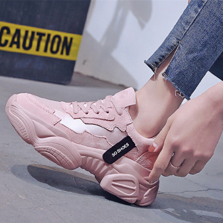 2019 Women Chunky Sneakers Fashion Women Platform Shoes Lace Up Pink Vulcanize Shoes Womens Trainers Casual Shoes Zapatos Mujer