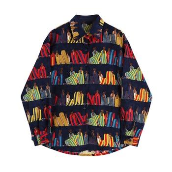 Corduroy shirt women long sleeve plus size temperament New Lapel Loose Fit  Fashion Tide Spring Autumn 2020 loose fit linen button split joint big size jacket new lapel long sleeve women coat fashion tide spring 2020 1x5010
