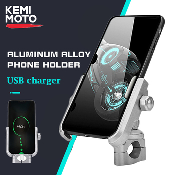 With USB Charger QC 3.0 Motorcycle Mobile Phone Holder for Motorbike Mirror GPS Stand Bracket Cell Phone Mount Support motorbike electric bike motorcycle rearview mirror extension mount bracket holder for mobile phone tablet handlebar mount stand