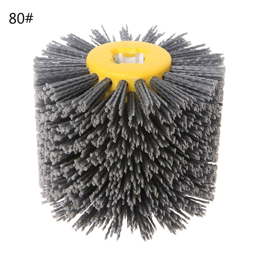 Abrasive Wire Drawing Round Brush Head Polishing Grinding Tool Buffer Wheel For Furniture Wood Sculpture Rotary Drill