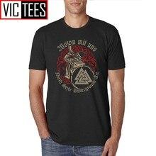 Männer Causual T Shirts Männer Wotan Mit Uns Viking Norden Stil Männlichen T-shirt T Team Kleidung Vintage Gedruckt 3XL männlichen