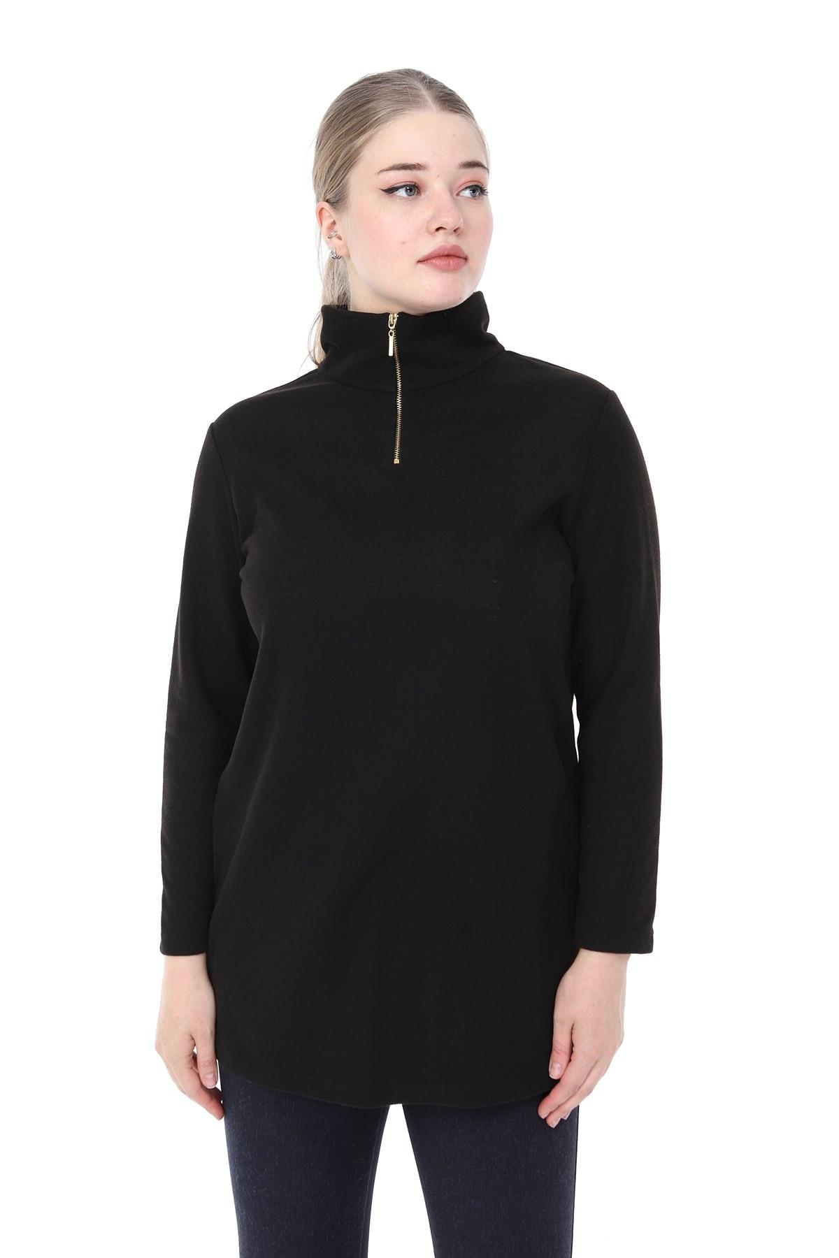 Women's Plus Size Long Sleeve turn down Collar Zipper Detail Blouse Black L2315