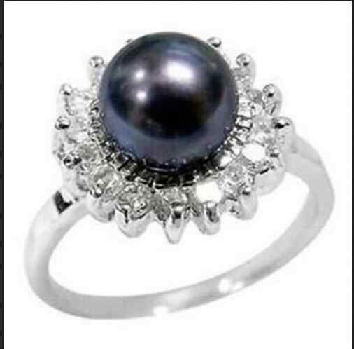 ขายส่งฟรี SIP>> ที่สวยงามสีดำแหวนมุกขนาด 6 ~ 9 #
