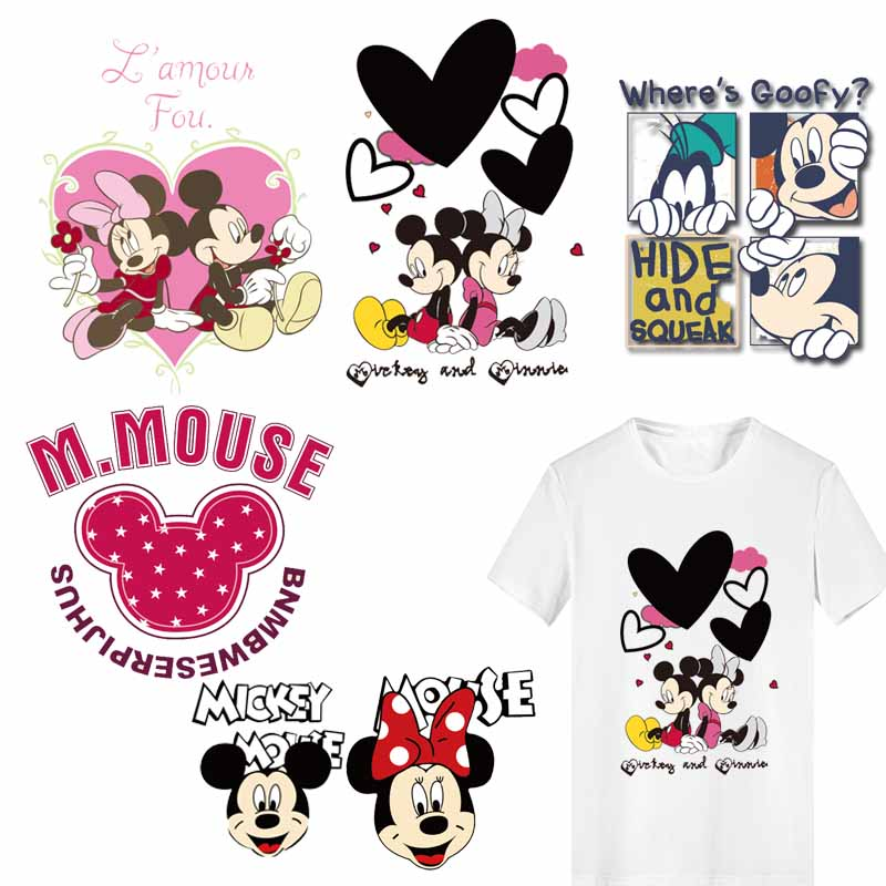 <font><b>Iron</b></font> <font><b>on</b></font> Heart Mouse <font><b>Patches</b></font> for <font><b>Kids</b></font> Girl Clothing DIY T-shirt Dresses Applique Heat Transfer Vinyl Thermo Letter <font><b>Patch</b></font> Stickers image